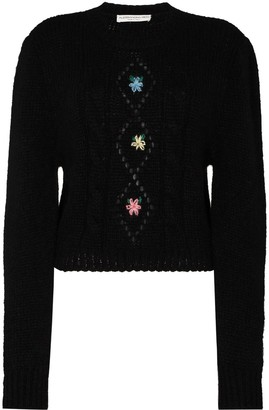 Alessandra Rich Floral-Embroidered Jumper
