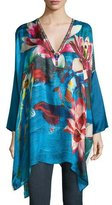 Johnny Was Water Lily Boxy Silk Top, Plus Size
