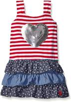 U.S. Polo Assn. Baby Girls' Stars and Stripes Ruffle Tank Dress