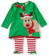 Rare Editions Little Girls 2T-6X Christmas Reindeer Top & Striped Leggings Set
