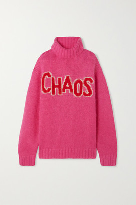 House of Holland Chaos Oversized Intarsia Knitted Turtleneck Sweater - Pink