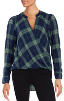 Splendid Plaid Mock-Wrap Top
