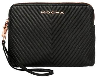 Mocha Chevron Zip Around Leather Clutch - Black