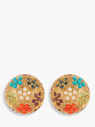 Susan Caplan Vintage 1980s D'Orlan 22ct Gold Plated Faux Pearl and Swarovski Crystal Disc Clip-On Earrings, Gold/Multi