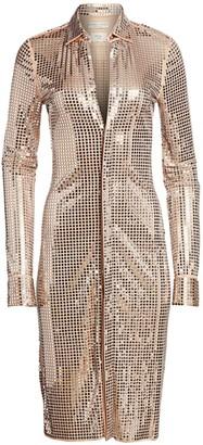 Bottega Veneta Mirror Embellished Jersey Shirtdress