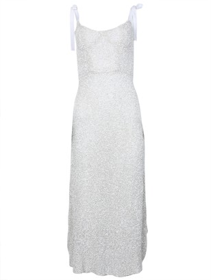 MARKARIAN Veronica Sequined Corset Dress White