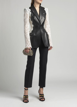 Alexander McQueen Leather Jacket with Lace Sleeves