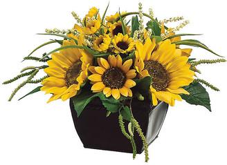 "One Kings Lane 14"" Sunflower & Amaranthus Mix with Planter - Faux - arrangement, yellow/green; planter, black"