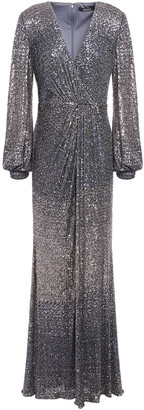 Badgley Mischka Wrap-effect Degrade Sequined Stretch-tulle Gown