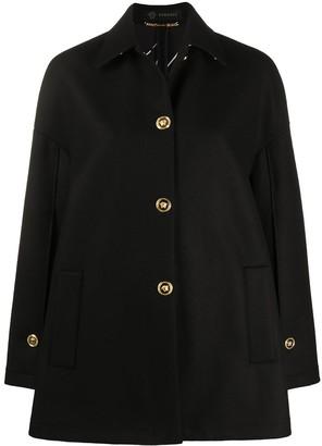 Versace Medusa button wool felt coat