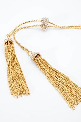francesca's Genevieve Pave Tasseled Lariat - Gold