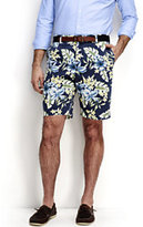 """Lands' End Men's Traditional Fit 9"""" Plain Front Floral Casual Chino Shorts-Deep Sea"""