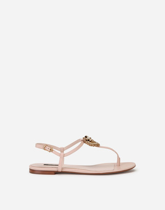 Dolce & Gabbana Nappa Leather Devotion Flip Flops