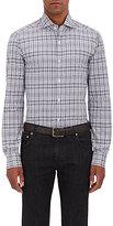 Isaia Men's Grid-Print Cotton Poplin Shirt-DARK GREY