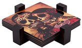 Novica Decorative Paper and Wood Coasters, Multicolor, 'Day Of The Dead Romance' (set of 4)