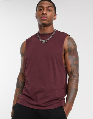 Asos Design DESIGN organic relaxed sleeveless t-shirt with dropped armhole in burgundy