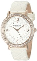 Stuhrling Original Women's Quartz Watch with Silver Dial Analogue Display and White Leather Strap 786.03