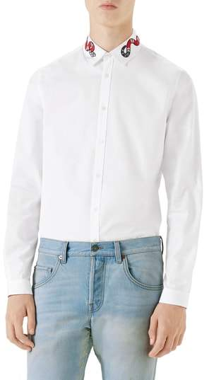 Gucci Snake Embroidered Collar Shirt