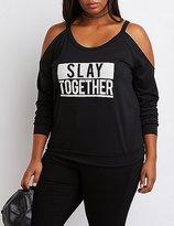 Charlotte Russe Plus Size Slay Together Cold Shoulder Sweatshirt