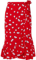Miu Miu Ruffled Printed Crepe Wrap Skirt - Red