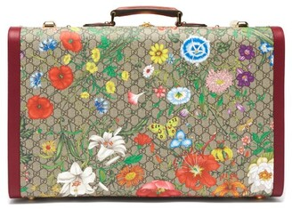 Gucci GG Flora Coated Canvas And Leather Suitcase - Multi