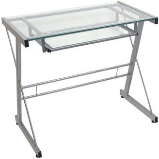 Hewson Home Office Glass Metal Computer Desk