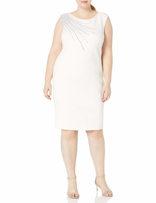 Calvin Klein Women's Plus Size Sleeveless Sheath with Shoulder Embellishement