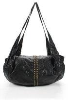 Tylie Malibu Black Leather Studded Large Hobo Shoulder Handbag