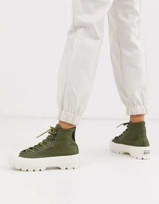 Converse Khaki Green Goretex Leather Chuck Taylor Hi Chunky Sole Hiker Boots