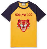 Gucci Slim-Fit Angry Cat Appliquéd Cotton-Jersey T-Shirt