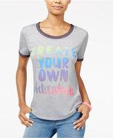 Hybrid Juniors' Graphic Ringer T-Shirt