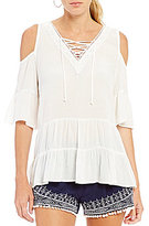 I.N. San Francisco Cold-Shoulder Flutter Sleeve Lace Up Top