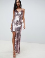 Asos Design DESIGN cami all over sequin mini dress with ruched side