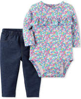 Carter's 2-Pc. Floral-Print Bodysuit & Jeans Set, Baby Girls