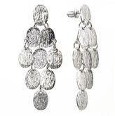 Apt. 9 silver tone textured disc kite earrings