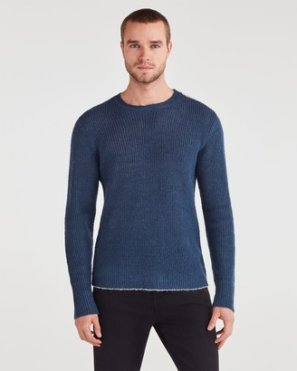 7 For All Mankind Contrast Linking Sweater in Steel Blue with White Linking