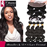 V-Beyonce 13x4 Lace Frontal Closure With Bundles Brazilian Virgin Human Hair 4 Bundles with Ear to Ear Free Part Closure Body Wave 24 26 28 28 and 20