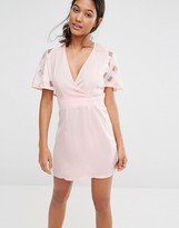 Boohoo Exclusive Plunge Front Organza Sleeve Dress