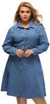 BYY Plus Size Denim Shirt Dress(Size,XXL)
