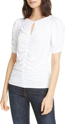 Frame Shirred Keyhole Neck T-Shirt