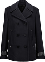 Alexander Wang Leather-trimmed wool-blend coat