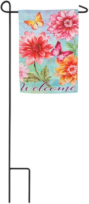 Evergreen Fresh Dahlias Suede Garden Flag