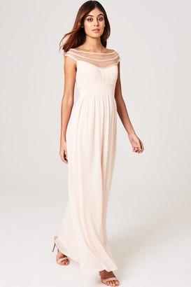 Little Mistress Elana Nude Embellished Off-The-Shoulder Maxi Dress
