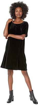 Eileen Fisher Recycled Polyester Stretch Velvet Round Neck Knee Length Dress (Black) Women's Clothing