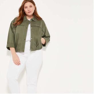 Joe Fresh Women+ Boxy Contrast Stitch Jacket, Olive (Size 3X)