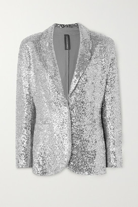 Norma Kamali Sequined Jersey Blazer - Silver