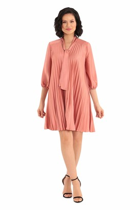Maggy London Women's Light Charmeuse Neck Tie Pleated Shift Dress