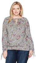 Lucky Brand Women's Plus Size Banded Bottom Peasant Top
