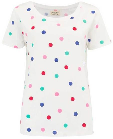 Sugarhill Boutique Sylvie Rainbow Polka T Shirt Off White - 8