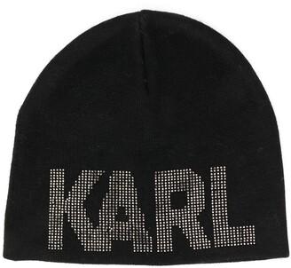 Karl Lagerfeld Paris Logo Embellished Beanie